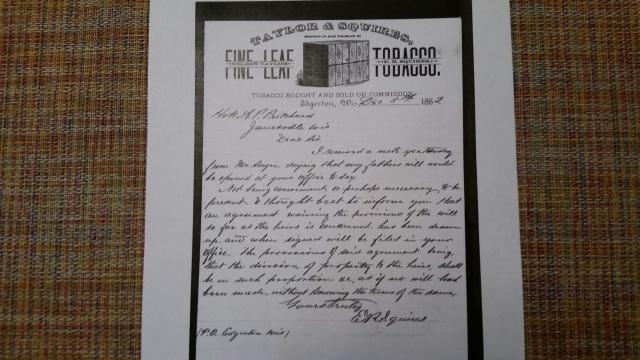 ER Squires letterhead